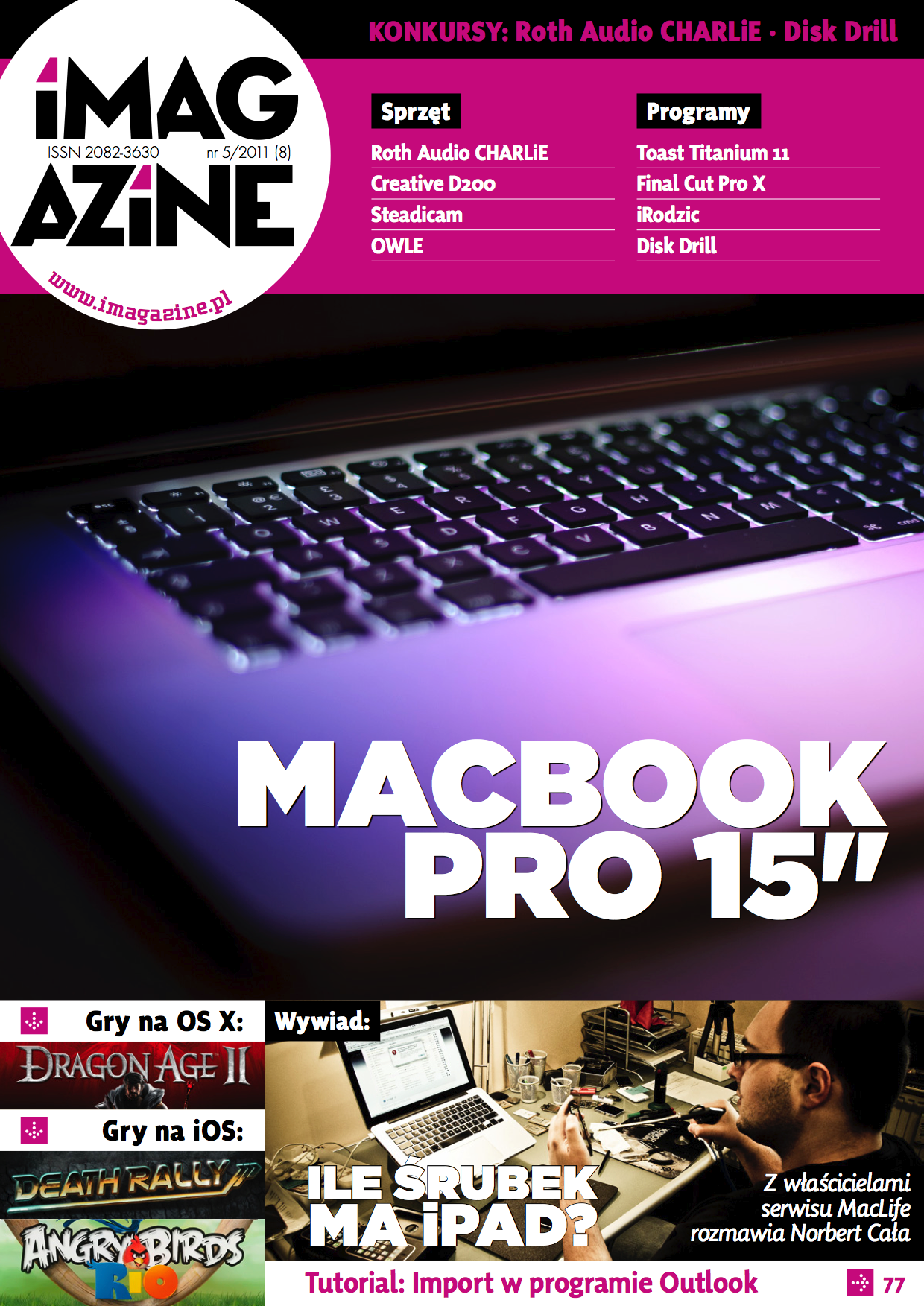 iMagazine 5/2011 – Macbook Pro 15″, Charlie, LEGO, Dragon Age II