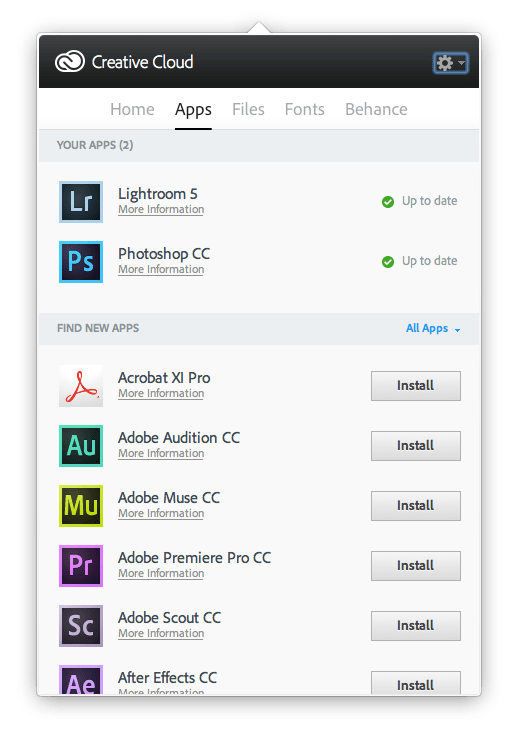 Creative Cloud App - Apps