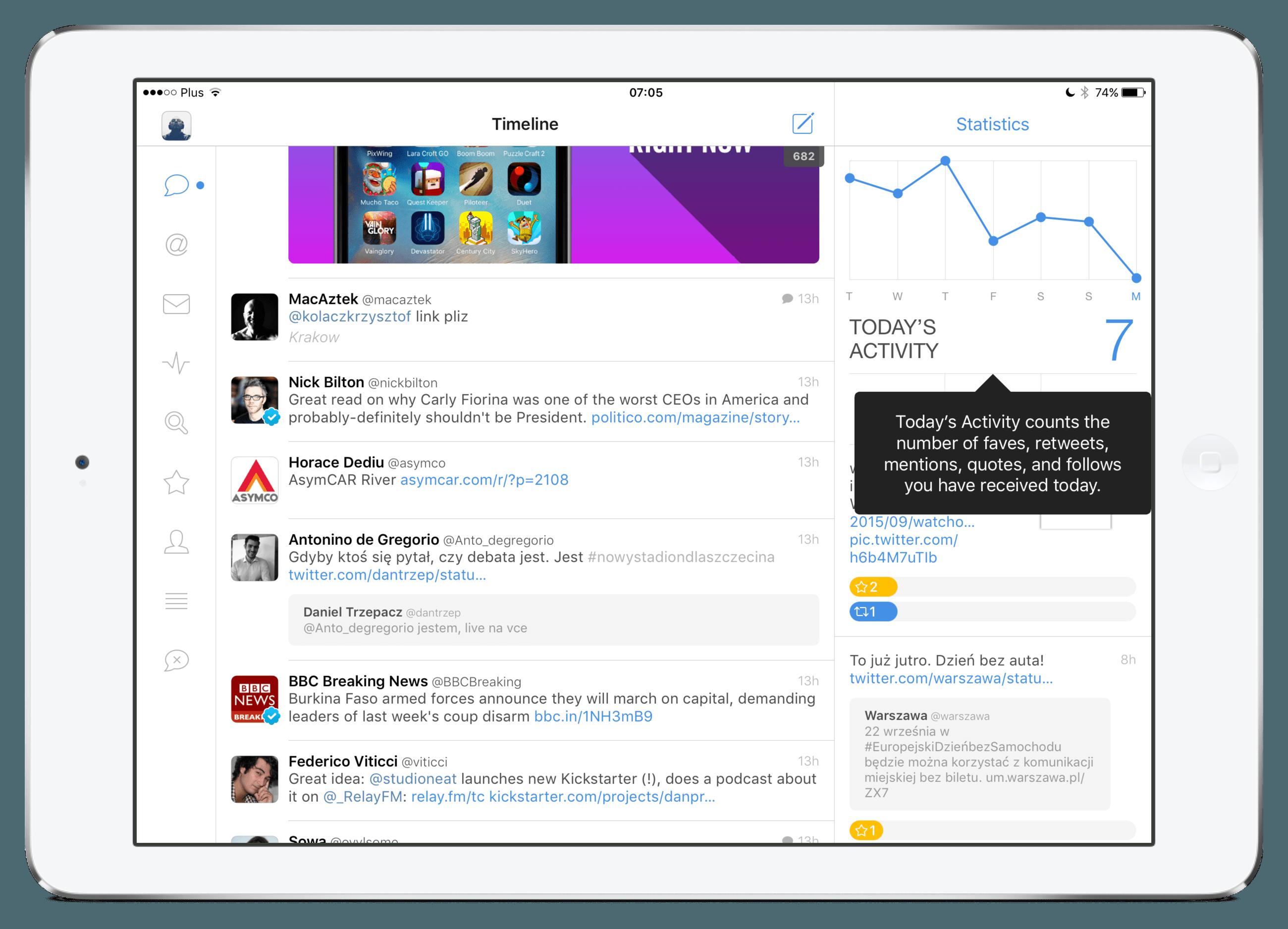 Tweetbot 4 - iPad - landscape timeline 01 - device