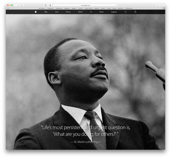 Martin Luther King Apple Safari hero