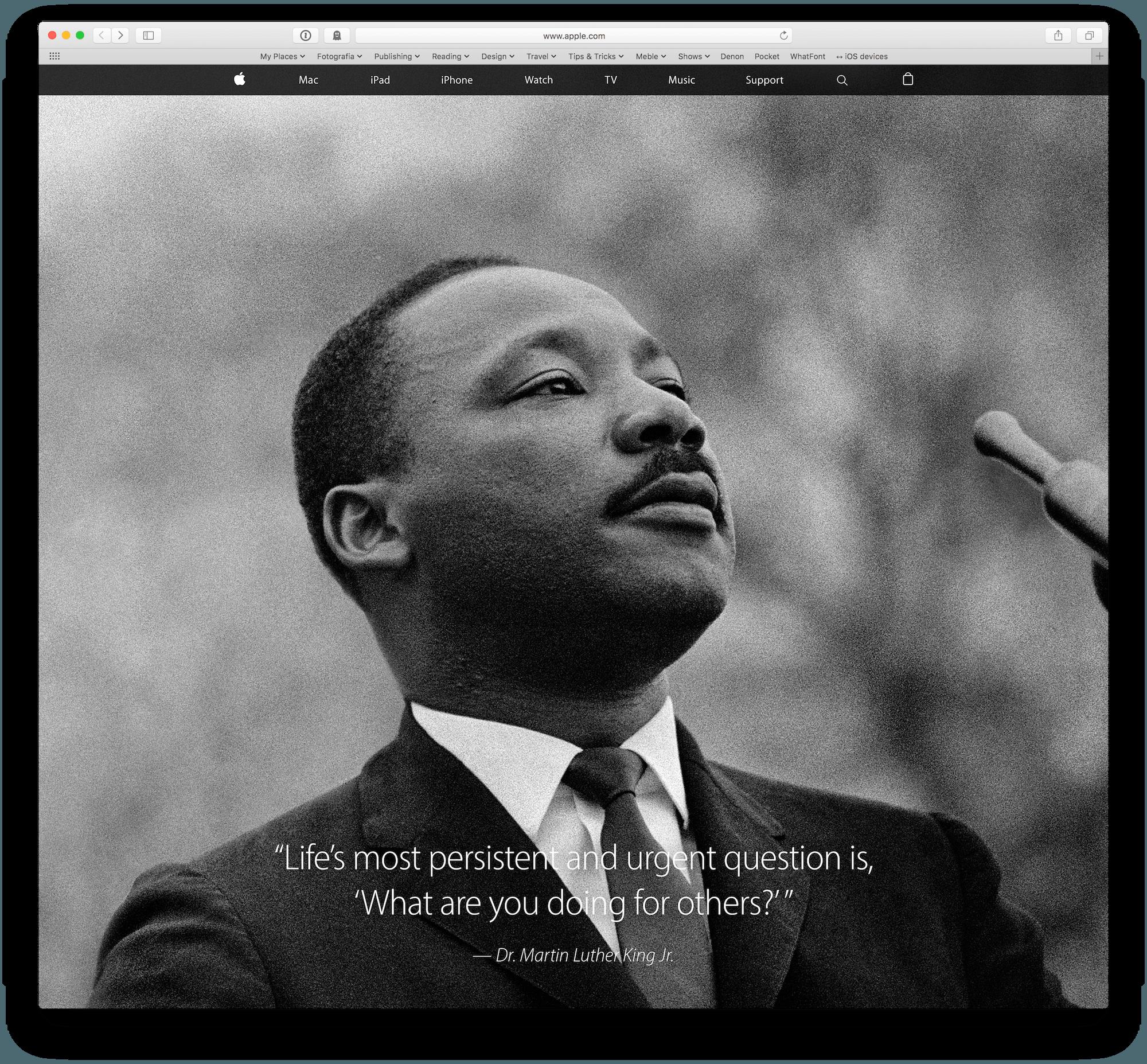 Martin Luther King na głównej Apple.com   iMagazine
