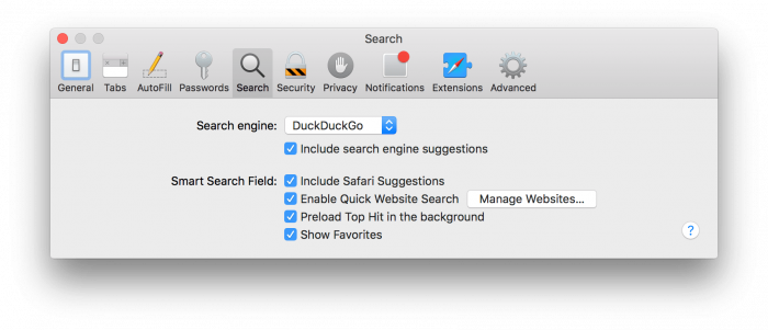 Safari DuckDuckGo Search Engine